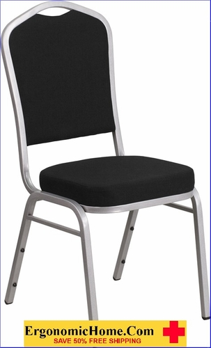 Ergonomic Home TOUGH ENOUGH Series Crown Back Stacking Banquet Chair with Black Fabric and 2.5'' Thick Seat - Silver Frame EH-FD-C01-S-11-GG <b><font color=green>50% Off Read More Below...</font></b>