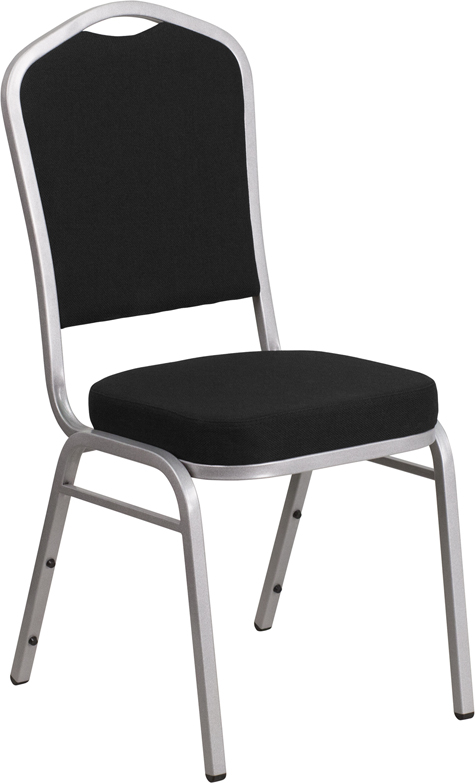 <font color=#c60>Save 50% w/Free Shipping!</font> TOUGH ENOUGH Series Crown Back Stacking Banquet Chair with Black Fabric and 2.5'' Thick Seat - Silver Frame FD-C01-S-11-GG <font color=#c60>Read More ... </font>