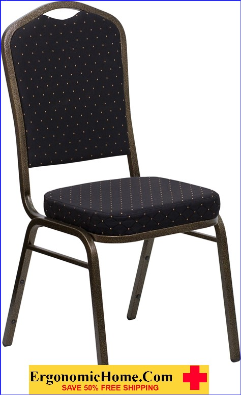 </b></font>Ergonomic Home TOUGH ENOUGH Series Crown Back Stacking Banquet Chair with Black Patterned Fabric and 2.5'' Thick Seat - Gold Vein Frame EH-FD-C01-GOLDVEIN-S0806-GG <b></font>. </b></font></b>