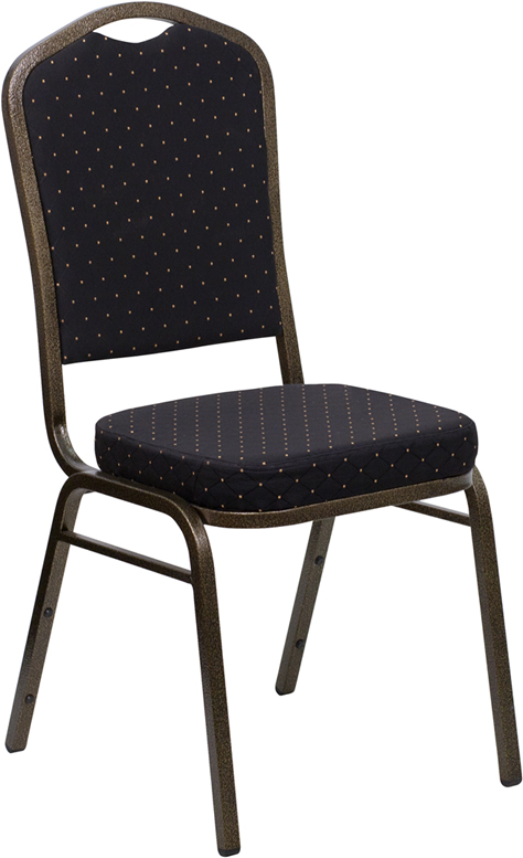 <font color=#c60>Save 50% w/Free Shipping!</font> TOUGH ENOUGH Series Crown Back Stacking Banquet Chair with Black Patterned Fabric and 2.5'' Thick Seat - Gold Vein Frame FD-C01-GOLDVEIN-S0806-GG <font color=#c60>Read More ... </font>