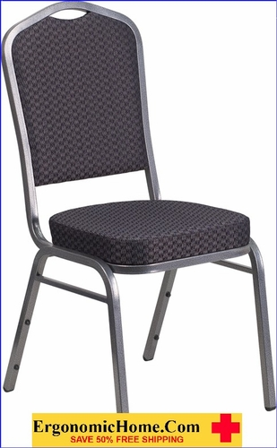 Ergonomic Home TOUGH ENOUGH Crown Back Stacking Banquet Chair with Black Patterned Fabric and 2.5'' Thick Seat - Silver Vein Frame EH-HF-C01-SV-E26-BK-GG <b><font color=green>50% Off Read More Below...</font></b>