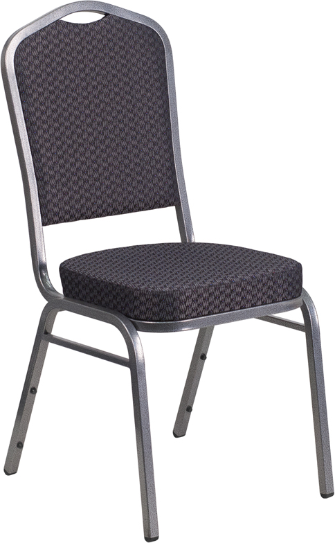 Ergonomic Home TOUGH ENOUGH Series Crown Back Stacking Banquet Chair with Black Patterned Fabric and 2.5'' Thick Seat - Silver Vein Frame EH-HF-C01-SV-E26-BK-GG <b><font color=green>50% Off Read More Below...</font></b>