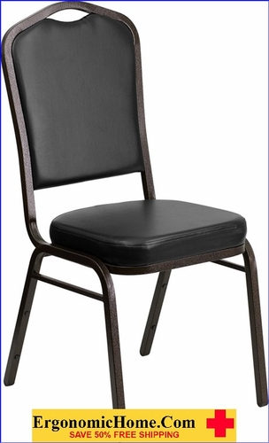 Ergonomic Home TOUGH ENOUGH Series Crown Back Stacking Banquet Chair with Black Vinyl and 2.5'' Thick Seat - Gold Vein Frame EH-FD-C01-GOLDVEIN-BK-VY-GG <b><font color=green>50% Off Read More Below...</font></b>