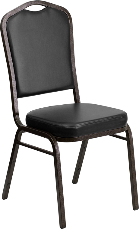 <font color=#c60>Save 50% w/Free Shipping!</font> TOUGH ENOUGH Series Crown Back Stacking Banquet Chair with Black Vinyl and 2.5'' Thick Seat - Gold Vein Frame FD-C01-GOLDVEIN-BK-VY-GG <font color=#c60>Read More ... </font>