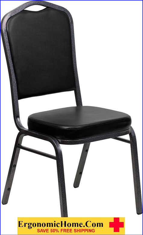 </b></font>Ergonomic Home TOUGH ENOUGH Series Crown Back Stacking Banquet Chair with Black Vinyl and 2.5'' Thick Seat - Silver Vein Frame EH-FD-C01-SILVERVEIN-BK-VY-GG <b></font>. </b></font></b>
