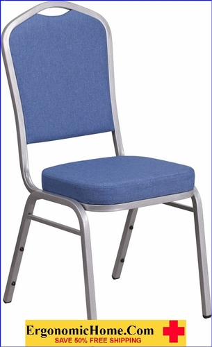 Ergonomic Home TOUGH ENOUGH Series Crown Back Stacking Banquet Chair with Blue Fabric and 2.5'' Thick Seat - Silver Frame EH-FD-C01-S-7-GG <b><font color=green>50% Off Read More Below...</font></b>