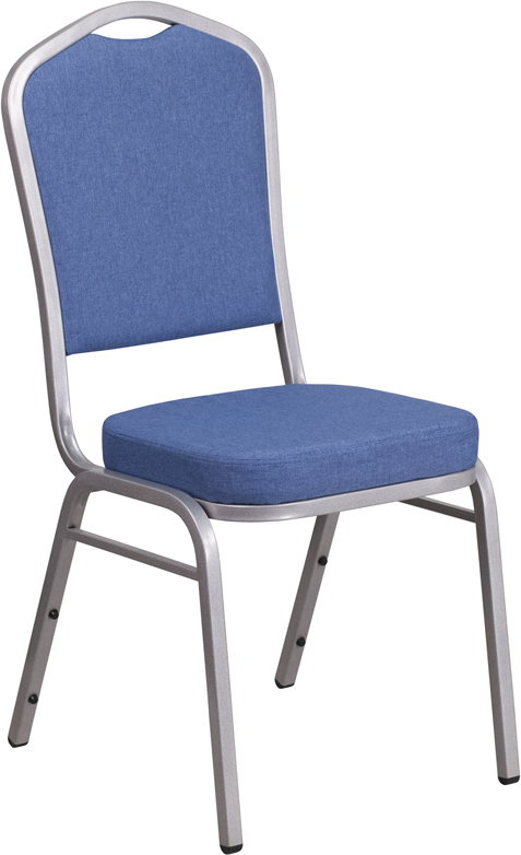 <font color=#c60>Save 50% w/Free Shipping!</font> TOUGH ENOUGH Series Crown Back Stacking Banquet Chair with Blue Fabric and 2.5'' Thick Seat - Silver Frame FD-C01-S-7-GG <font color=#c60>Read More ... </font>