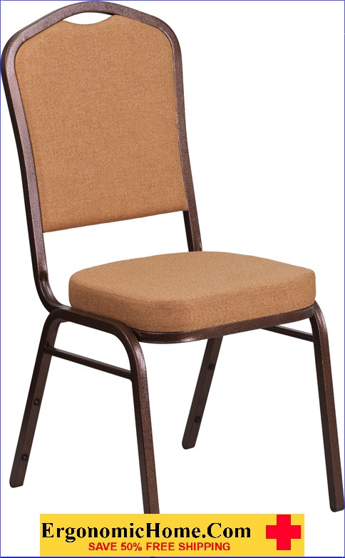 </b></font>Ergonomic Home TOUGH ENOUGH Series Crown Back Stacking Banquet Chair with Brown Fabric and 2.5'' Thick Seat - Copper Vein Frame EH-FD-C01-C-4-GG <b></font>. </b></font></b>