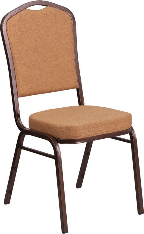 Ergonomic Home TOUGH ENOUGH Series Crown Back Stacking Banquet Chair with Brown Fabric and 2.5'' Thick Seat - Copper Vein Frame EH-FD-C01-C-4-GG <b><font color=green>50% Off Read More Below...</font></b>