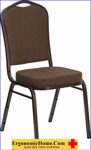 Ergonomic Home TOUGH ENOUGH Series Crown Back Stacking Banquet Chair with Brown Patterned Fabric and 2.5'' Thick Seat - Copper Vein Frame EH-FD-C01-COPPER-008-T-02-GG <b><font color=green>50% Off Read More Below...</font></b>