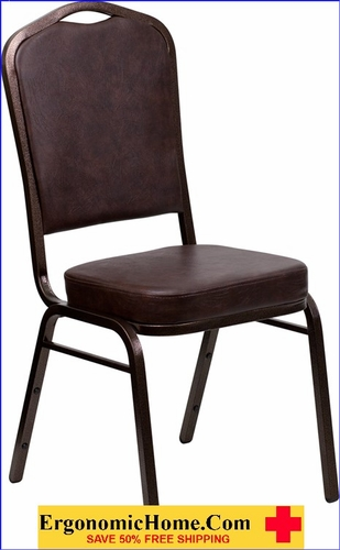 Ergonomic Home TOUGH ENOUGH Series Crown Back Stacking Banquet Chair with Brown Vinyl and 2.5'' Thick Seat - Copper Vein Frame EH-FD-C01-COPPER-BRN-VY-GG <b><font color=green>50% Off Read More Below...</font></b>