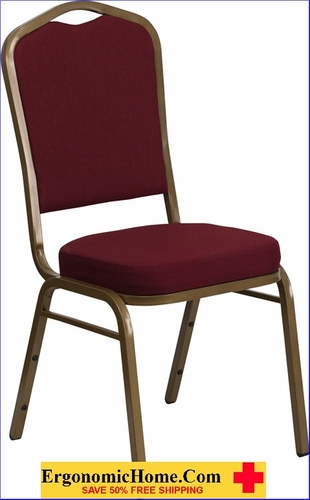 Ergonomic Home TOUGH ENOUGH Series Crown Back Stacking Banquet Chair with Burgundy Fabric and 2.5'' Thick Seat - Gold Frame EH-FD-C01-ALLGOLD-3169-GG <b><font color=green>50% Off Read More Below...</font></b>