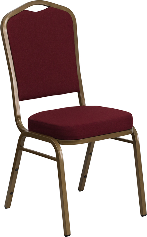 <font color=#c60>Save 50% w/Free Shipping!</font> TOUGH ENOUGH Series Crown Back Stacking Banquet Chair with Burgundy Fabric and 2.5'' Thick Seat - Gold Frame FD-C01-ALLGOLD-3169-GG <font color=#c60>Read More ... </font>
