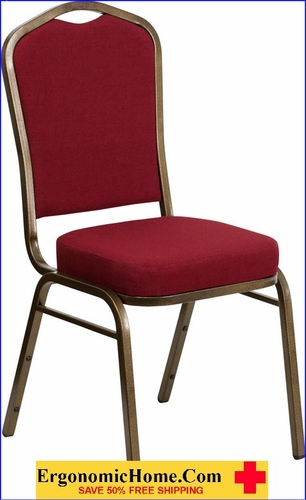Ergonomic Home TOUGH ENOUGH Series Crown Back Stacking Banquet Chair with Burgundy Fabric and 2.5'' Thick Seat - Gold Vein Frame EH-FD-C01-GOLDVEIN-3169-GG <b><font color=green>50% Off Read More Below...</font></b></font></b>