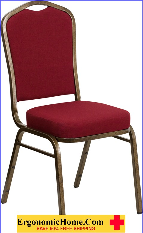 </b></font>Ergonomic Home TOUGH ENOUGH Series Crown Back Stacking Banquet Chair with Burgundy Fabric and 2.5'' Thick Seat - Gold Vein Frame EH-FD-C01-GOLDVEIN-3169-GG <b></font>. </b></font></b>