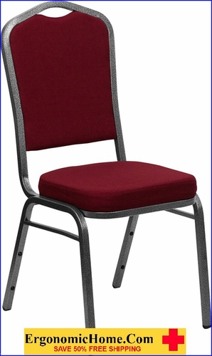 Ergonomic Home TOUGH ENOUGH Series Crown Back Stacking Banquet Chair with Burgundy Fabric and 2.5'' Thick Seat - Silver Vein Frame EH-FD-C01-SILVERVEIN-3169-GG <b><font color=green>50% Off Read More Below...</font></b></font></b>