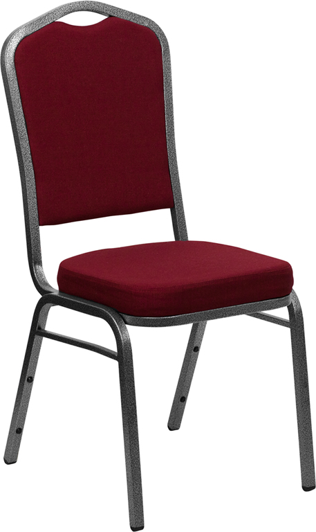 <font color=#c60>Save 50% w/Free Shipping!</font> TOUGH ENOUGH Series Crown Back Stacking Banquet Chair with Burgundy Fabric and 2.5'' Thick Seat - Silver Vein Frame FD-C01-SILVERVEIN-3169-GG <font color=#c60>Read More ... </font>