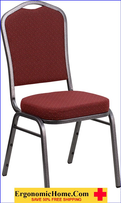 </b></font>Ergonomic Home TOUGH ENOUGH Series Crown Back Stacking Banquet Chair with Burgundy Patterned Fabric and 2.5'' Thick Seat - Silver Vein Frame EH-NG-C01-HTS-2201-SV-GG  <b></font>. </b></font></b>