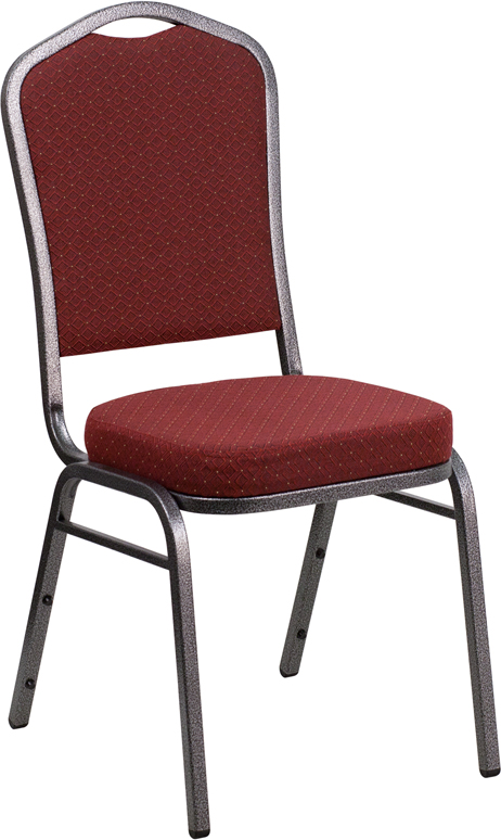 Ergonomic Home TOUGH ENOUGH Series Crown Back Stacking Banquet Chair with Burgundy Patterned Fabric and 2.5'' Thick Seat - Silver Vein Frame EH-NG-C01-HTS-2201-SV-GG  <b><font color=green>50% Off Read More Below...</font></b>