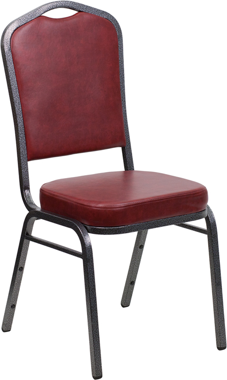 Ergonomic Home TOUGH ENOUGH Series Crown Back Stacking Banquet Chair with Burgundy Vinyl and 2.5'' Thick Seat - Silver Vein Frame EH-FD-C01-SILVERVEIN-BURG-VY-GG <b><font color=green>50% Off Read More Below...</font></b>