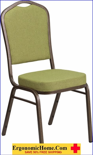 Ergonomic Home TOUGH ENOUGH Series Crown Back Stacking Banquet Chair with Citron Fabric and 2.5'' Thick Seat - Gold Vein Frame EH-FD-C01-GV-8-GG <b><font color=green>50% Off Read More Below...</font></b></font></b>