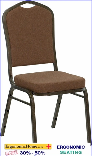 Ergonomic Home TOUGH ENOUGH Series Crown Back Stacking Banquet Chair with Coffee Fabric and 2.5'' Thick Seat - Gold Vein Frame EH-NG-C01-COFFEE-GV-GG <b><font color=green>50% Off Read More Below...</font></b></font></b>&#x1F384<font color=red><b>ERGONOMICHOME HOLIDAY SALE</b></font>&#x1F384