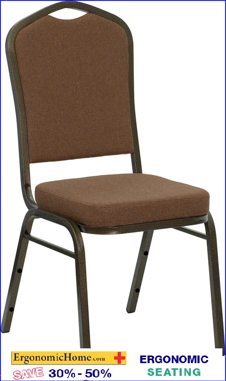 ERGONOMIC HOME TOUGH ENOUGH Series Crown Back Stacking Banquet Chair with Coffee Fabric and 2.5'' Thick Seat - Gold Vein Frame EHNG-C01-COFFEE-GV-GG