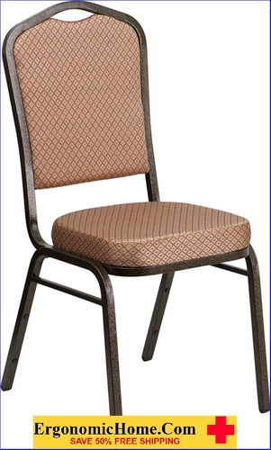 Ergonomic Home TOUGH ENOUGH Series Crown Back Stacking Banquet Chair with Gold Diamond Patterned Fabric and 2.5'' Thick Seat - Gold Vein Frame EH-FD-C01-GOLDVEIN-GO-GG <b><font color=green>50% Off Read More Below...</font></b>