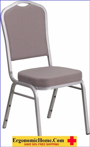 Ergonomic Home TOUGH ENOUGH Series Crown Back Stacking Banquet Chair with Gray Dot Fabric and 2.5'' Thick Seat - Silver Frame EH-FD-C01-S-6-GG <b><font color=green>50% Off Read More Below...</font></b></font></b>&#x1F384<font color=red><b>ERGONOMICHOME HOLIDAY SALE</b></font>&#x1F384