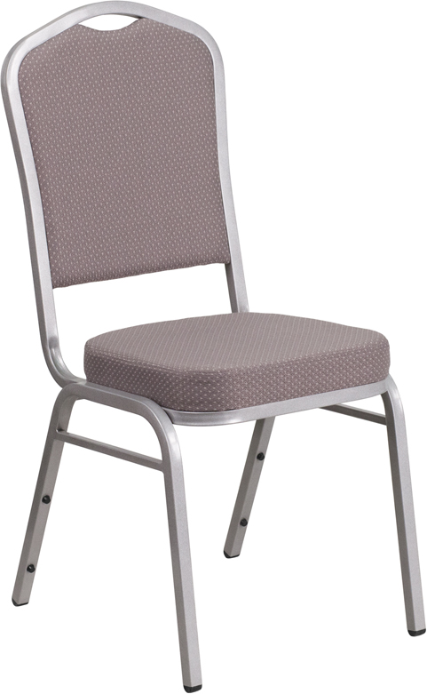 Ergonomic Home TOUGH ENOUGH Series Crown Back Stacking Banquet Chair with Gray Dot Fabric and 2.5'' Thick Seat - Silver Frame EH-FD-C01-S-6-GG <b><font color=green>50% Off Read More Below...</font></b>