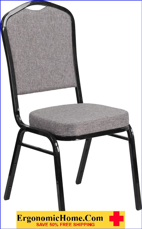 </b></font>Ergonomic Home TOUGH ENOUGH Series Crown Back Stacking Banquet Chair with Gray Fabric and 2.5'' Thick Seat - Black Frame EH-FD-C01-B-5-GG <b></font>. </b></font></b>