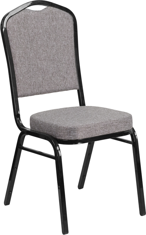 <font color=#c60>Save 50% w/Free Shipping!</font> TOUGH ENOUGH Series Crown Back Stacking Banquet Chair with Gray Fabric and 2.5'' Thick Seat - Black Frame FD-C01-B-5-GG <font color=#c60>Read More ... </font>