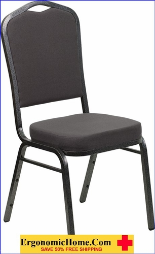 Ergonomic Home TOUGH ENOUGH Series Crown Back Stacking Banquet Chair with Gray Fabric and 2.5'' Thick Seat - Silver Vein Frame EH-FD-C01-SILVERVEIN-GY-GG <b><font color=green>50% Off Read More Below...</font></b></font></b>