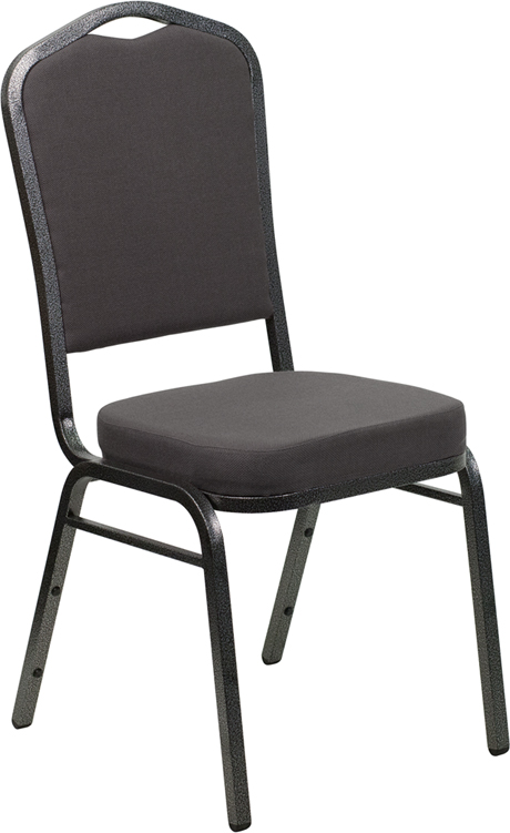 <font color=#c60>Save 50% w/Free Shipping!</font> TOUGH ENOUGH Series Crown Back Stacking Banquet Chair with Gray Fabric and 2.5'' Thick Seat - Silver Vein Frame FD-C01-SILVERVEIN-GY-GG <font color=#c60>Read More ... </font>