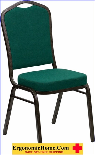 Ergonomic Home TOUGH ENOUGH Series Crown Back Stacking Banquet Chair with Green Fabric and 2.5'' Thick Seat - Gold Vein Frame EH-FD-C01-GOLDVEIN-GN-GG <b><font color=green>50% Off Read More Below...</font></b>