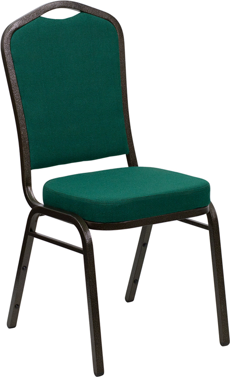 <font color=#c60>Save 50% w/Free Shipping!</font> TOUGH ENOUGH Series Crown Back Stacking Banquet Chair with Green Fabric and 2.5'' Thick Seat - Gold Vein Frame FD-C01-GOLDVEIN-GN-GG <font color=#c60>Read More ... </font>