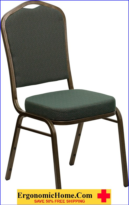 </b></font>Ergonomic Home TOUGH ENOUGH Series Crown Back Stacking Banquet Chair with Green Patterned Fabric and 2.5'' Thick Seat - Gold Vein Frame EH-FD-C01-GOLDVEIN-0640-GG <b></font>. </b></font></b>