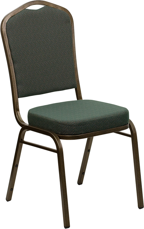 Ergonomic Home TOUGH ENOUGH Series Crown Back Stacking Banquet Chair with Green Patterned Fabric and 2.5'' Thick Seat - Gold Vein Frame EH-FD-C01-GOLDVEIN-0640-GG <b><font color=green>50% Off Read More Below...</font></b>