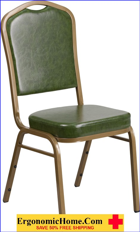 Ergonomic Home TOUGH ENOUGH Series Crown Back Stacking Banquet Chair with Green Vinyl and 2.5'' Thick Seat - Gold Frame EH-FD-C01-G-3-GG .