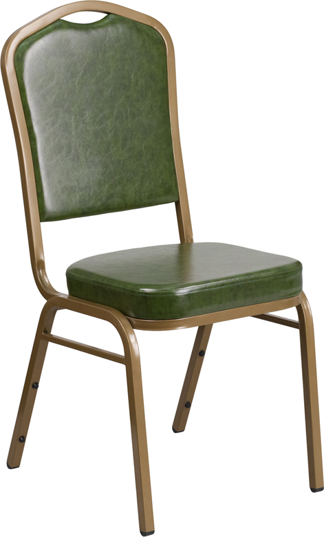 <font color=#c60>Save 50% w/Free Shipping!</font> TOUGH ENOUGH Series Crown Back Stacking Banquet Chair with Green Vinyl and 2.5'' Thick Seat - Gold Frame FD-C01-G-3-GG <font color=#c60>Read More ... </font>
