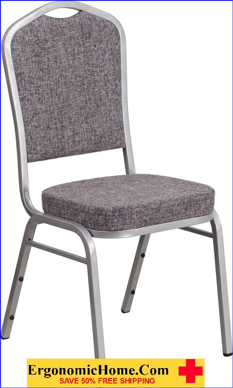 </b></font>Ergonomic Home TOUGH ENOUGH Series Crown Back Stacking Banquet Chair with Herringbone Fabric and 2.5'' Thick Seat - Silver Frame EH-FD-C01-S-12-GG <b></font>. </b></font></b>