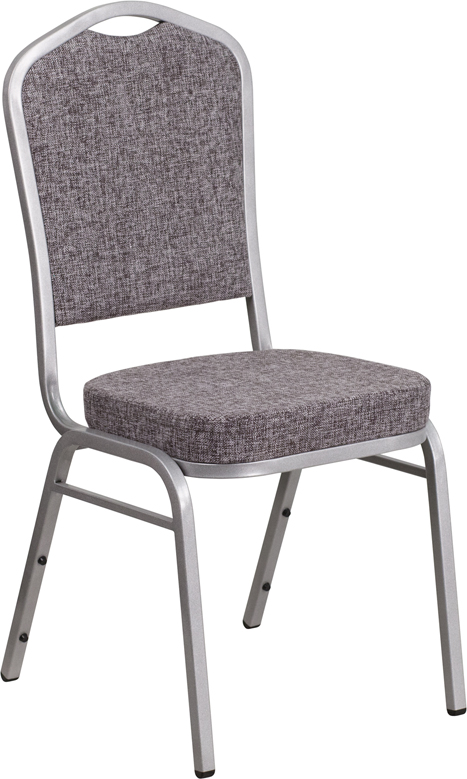 Ergonomic Home TOUGH ENOUGH Series Crown Back Stacking Banquet Chair with Herringbone Fabric and 2.5'' Thick Seat - Silver Frame EH-FD-C01-S-12-GG <b><font color=green>50% Off Read More Below...</font></b>