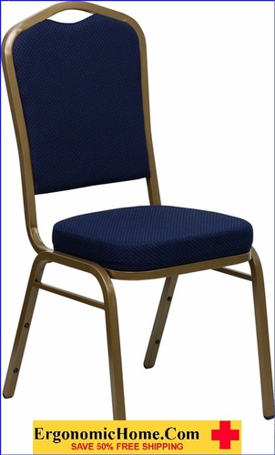 Ergonomic Home TOUGH ENOUGH Series Crown Back Stacking Banquet Chair with Navy Blue Patterned Fabric and 2.5'' Thick Seat - Gold Frame EH-FD-C01-ALLGOLD-2056-GG <b><font color=green>50% Off Read More Below...</font></b></font></b>