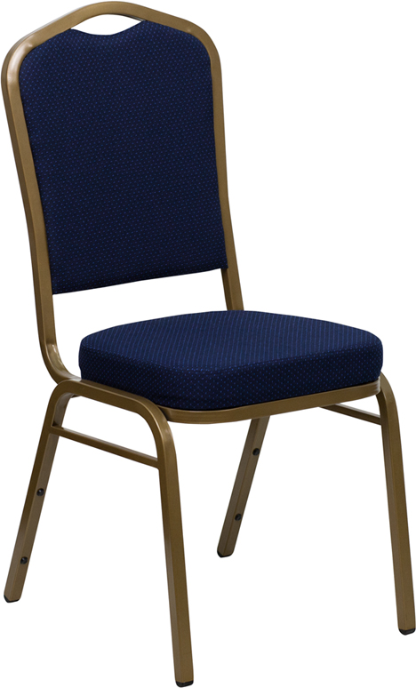 Ergonomic Home TOUGH ENOUGH Series Crown Back Stacking Banquet Chair with Navy Blue Patterned Fabric and 2.5'' Thick Seat - Gold Frame EH-FD-C01-ALLGOLD-2056-GG <b><font color=green>50% Off Read More Below...</font></b>