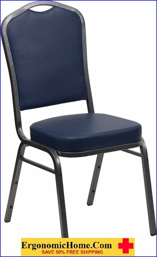 Ergonomic Home TOUGH ENOUGH Series Crown Back Stacking Banquet Chair with Navy Vinyl and 2.5'' Thick Seat - Silver Vein Frame EH-FD-C01-SILVERVEIN-NY-VY-GG <b><font color=green>50% Off Read More Below...</font></b>