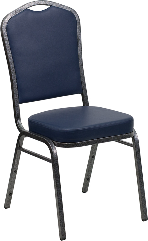 <font color=#c60>Save 50% w/Free Shipping!</font> TOUGH ENOUGH Series Crown Back Stacking Banquet Chair with Navy Vinyl and 2.5'' Thick Seat - Silver Vein Frame FD-C01-SILVERVEIN-NY-VY-GG <font color=#c60>Read More ... </font>