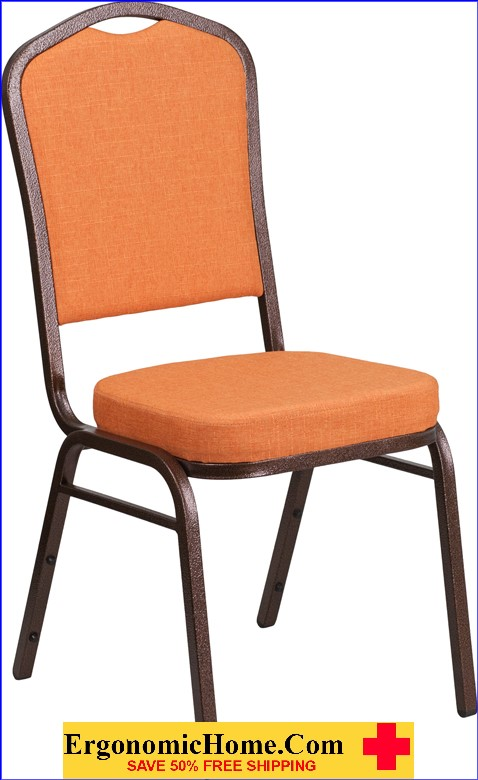 </b></font>Ergonomic Home TOUGH ENOUGH Series Crown Back Stacking Banquet Chair with Orange Fabric and 2.5'' Thick Seat - Copper Vein Frame EH-FD-C01-C-9-GG <b></font>. </b></font></b>