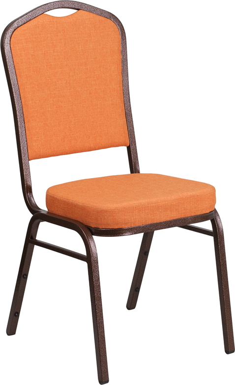 <font color=#c60>Save 50% w/Free Shipping!</font> TOUGH ENOUGH Series Crown Back Stacking Banquet Chair with Orange Fabric and 2.5'' Thick Seat - Copper Vein Frame FD-C01-C-9-GG <font color=#c60>Read More ... </font>