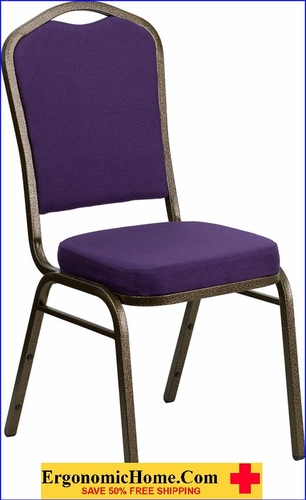 Ergonomic Home TOUGH ENOUGH Series Crown Back Stacking Banquet Chair with Purple Fabric and 2.5'' Thick Seat - Gold Vein Frame EH-FD-C01-PUR-GV-GG <b><font color=green>50% Off Read More Below...</font></b>