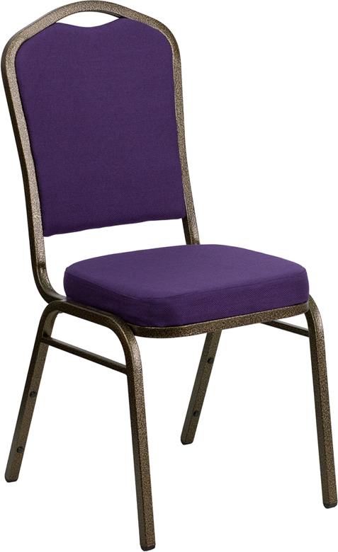 <font color=#c60>Save 50% w/Free Shipping!</font> TOUGH ENOUGH Series Crown Back Stacking Banquet Chair with Purple Fabric and 2.5'' Thick Seat - Gold Vein Frame FD-C01-PUR-GV-GG <font color=#c60>Read More ... </font>